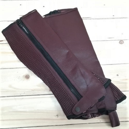 StableGate Xpert Leather Chaps Cherry (2)